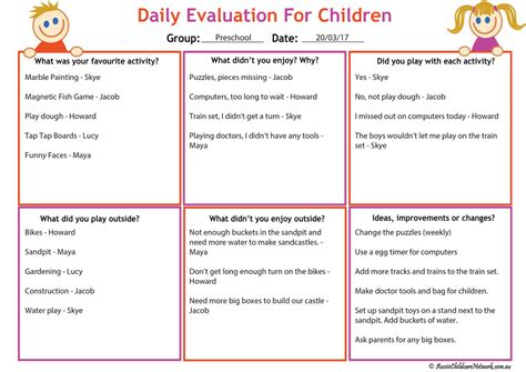 Daily Evaluation For Children Aussie Childcare Network Child Care Program Evaluation Template