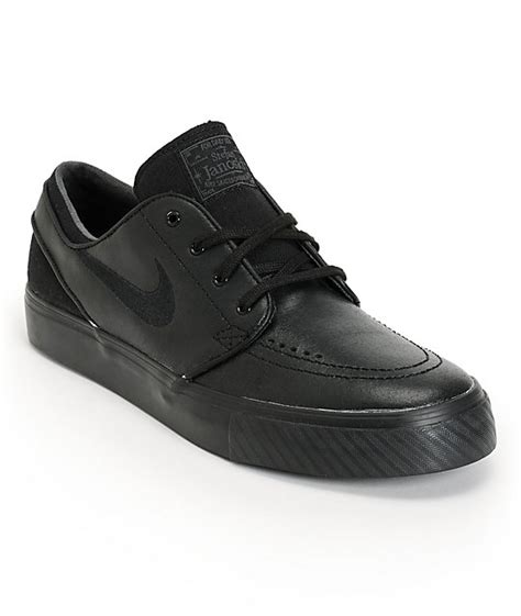 nike sb zoom stefan janoski black leather skate shoes at