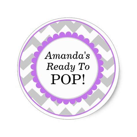 she s ready she s ready to pop chevron print baby shower round sticker