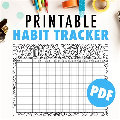 monthly habit tracker printable instant download pdf printable monthly habit tracker goal tracker pdf by