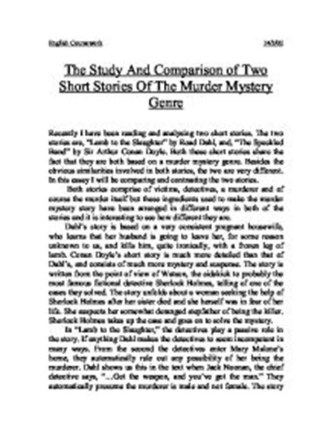 Stories Of Mystery the study and comparison of two stories of the