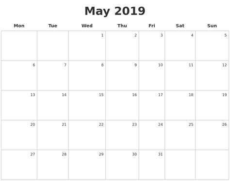 A Calendar May 2019 Make A Calendar