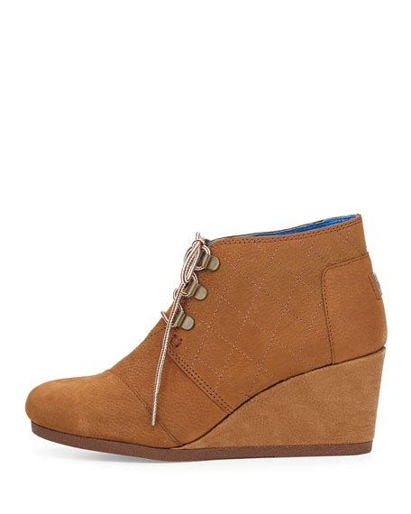 toms quilted leather desert wedge boot brown