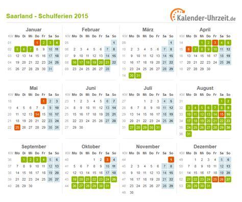 Bersicht Kalender 2015 Ferien Saarland 2015 Ferienkalender Zum Ausdrucken