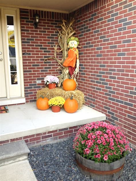 Outdoor Yard Decorating Ideas My Simple Fall Decorations Big Mums In Barrels Pumpkins Scarecrow Hay Bale Cork Stalk More