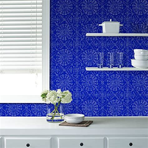 nuwallpaper blue byzantine peel and stick wallpaper sle wall pops nu1816 byzantine peel and stick wallpaper