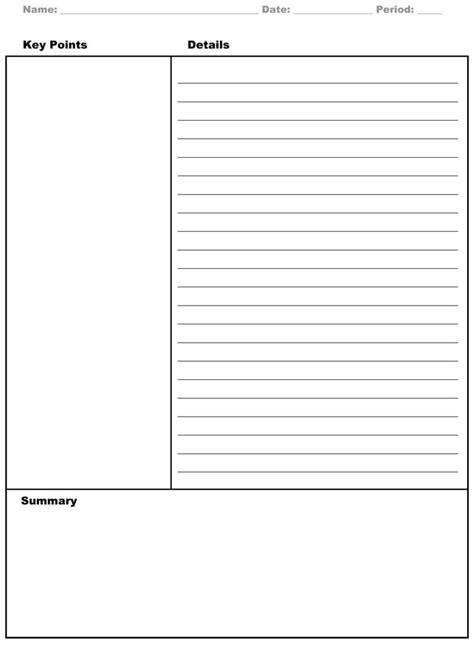 cornell note templates  cornell note
