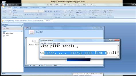 membuat form login di access 2007 cara membuat starup pada form ms access database youtube