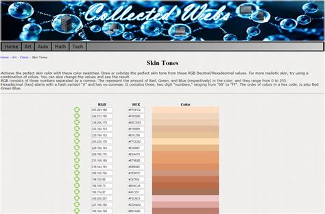 skin color hex code skin tones