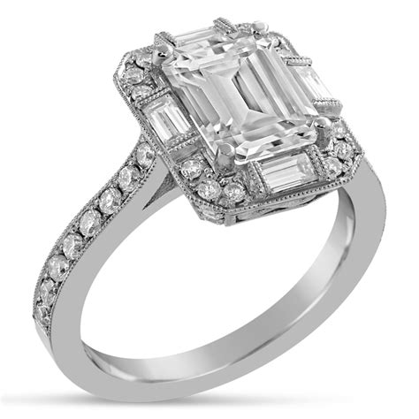 emerald cut antique style engagement ring with