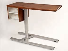 the bed modern hospital tray table with wooden top