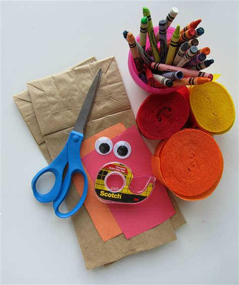 Paper Bag Crafts - no glue turkey craft for thanksgiving no time for