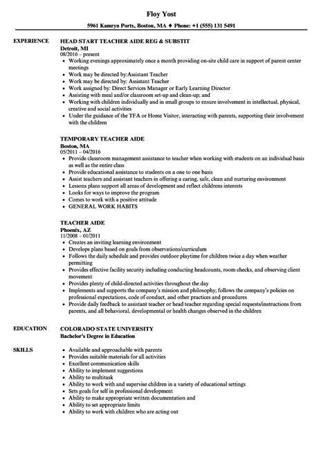 exles of resumes for teachers aide aide resume sles velvet