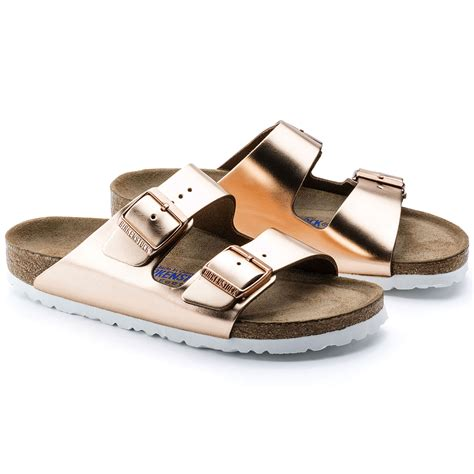 birkenstock arizona soft footbed metallic copper birkenstock arizona s flip flops soft footbed