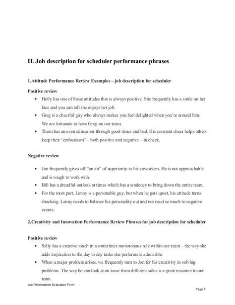 description for scheduler performance appraisal