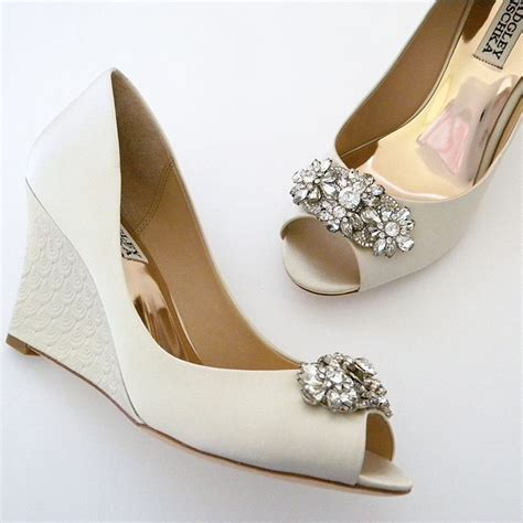 Bridal Shoes Wedges by Badgley Mischka Dara Wedding Shoes Ivory Wedge Ornament