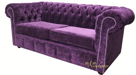 Fabric Chesterfield Sofa Bed Chesterfield 2 Seater Settee Sofa Bed Velluto Amethyst Fabric