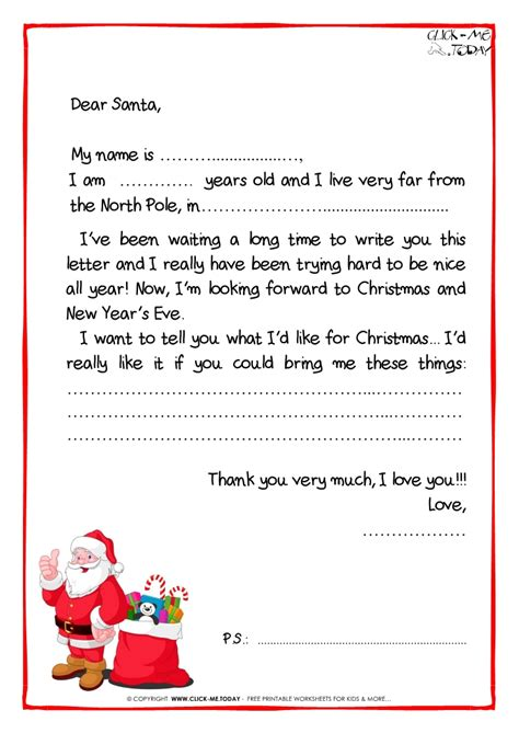 Letter To Santa Claus Black White Free Template Ps Santa Presents 37 Letters From Santa Templates Free