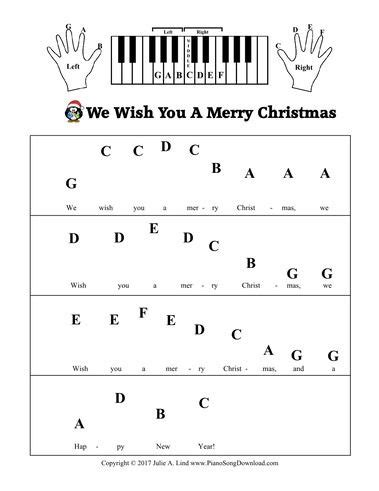 merry christmas pre staff  letters  beginning piano lessons piano sheet