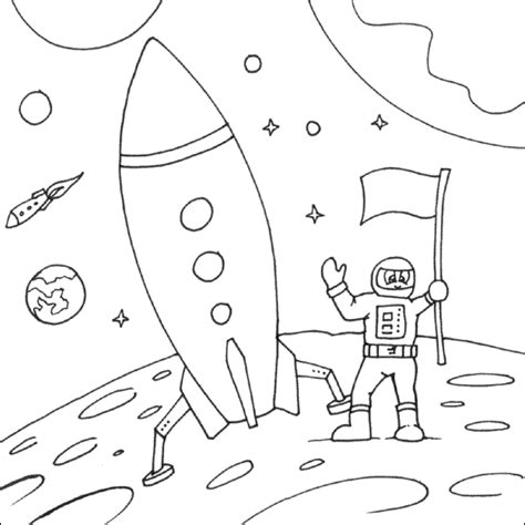 Moon Landing Coloring Page Space Coloring Pages