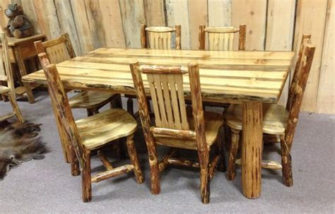Dining Table And Chairs Style 301 Custom Handmade Log Log Dining Table And Chairs