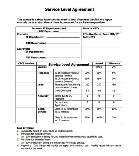 sla template sle service level agreement 13 exle format