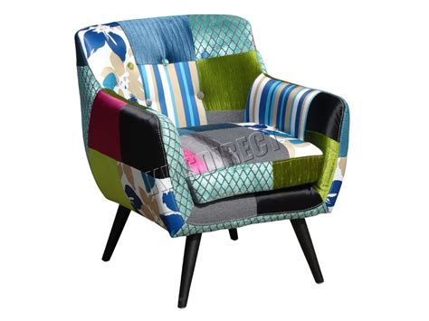 Patchwork Chairs Uk - foxhunter patchwork chair fabric vintage tub armchair seat