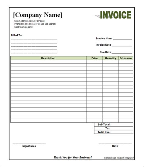fillable invoice template pdf invoice template pdf printable invoice template