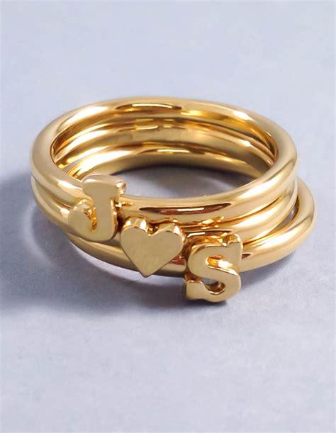 Letter Ring Gold Letter Ring Stackable Initial Ring Custom Letter Ring