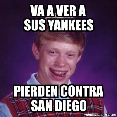 San Diego Meme - meme bad luck brian va a ver a sus yankees pierden