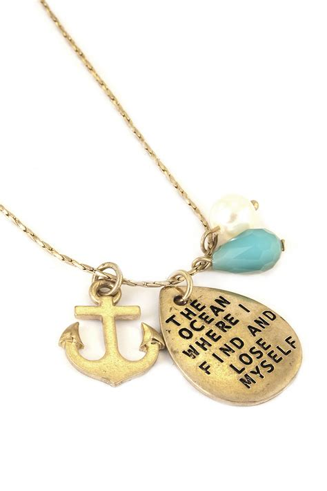 engraved anchor charm necklace necklaces