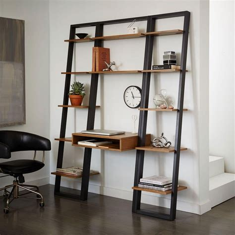narrow ladder bookcase ladder shelf desk narrow bookshelf set west elm au