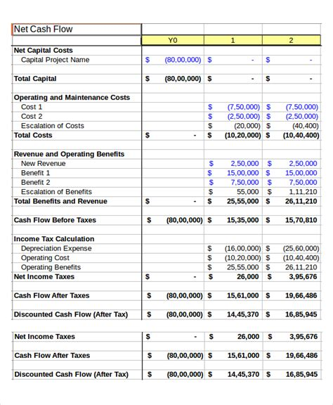 cash flow excel template 7 free excels download free
