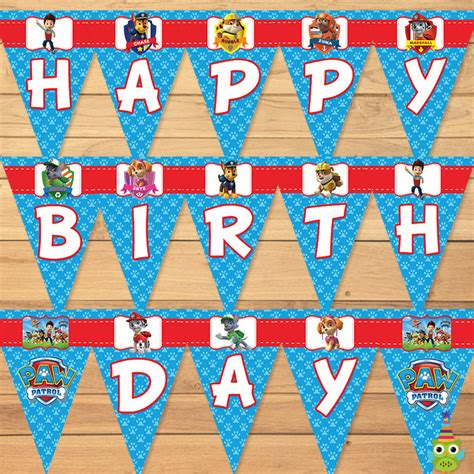 Bunting Flag Happy Birthday Banner Hbd Karakter Paw Patrol paw patrol birthday banner blue paw by partyprintables37 on zibbet