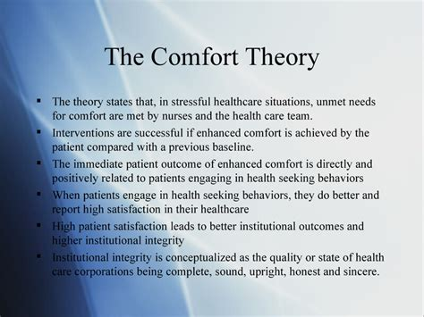comfort theory of nursing katharine kolcaba s theory of comfo