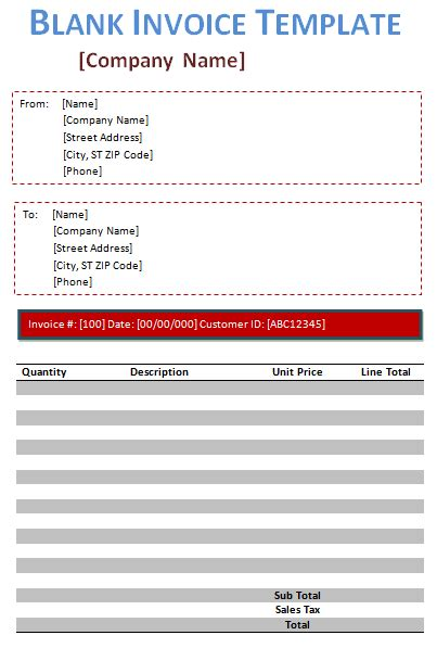 Blank Invoice Excel Printable Invoice Template Blank Invoice Template For Microsoft Word