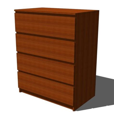 ikea malm drawers medium brown 3d model formfonts 3d