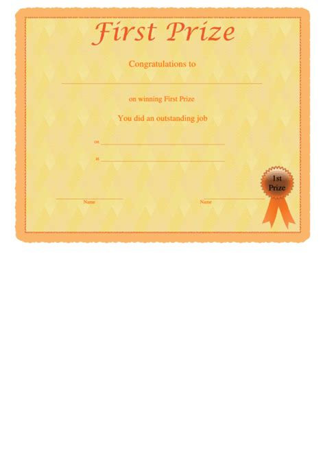 first prize certificate template prize certificate template printable pdf