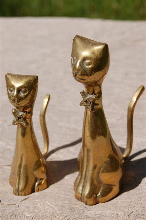 Vintage Brass Cats, Pair of Mid Century Brass Cat
