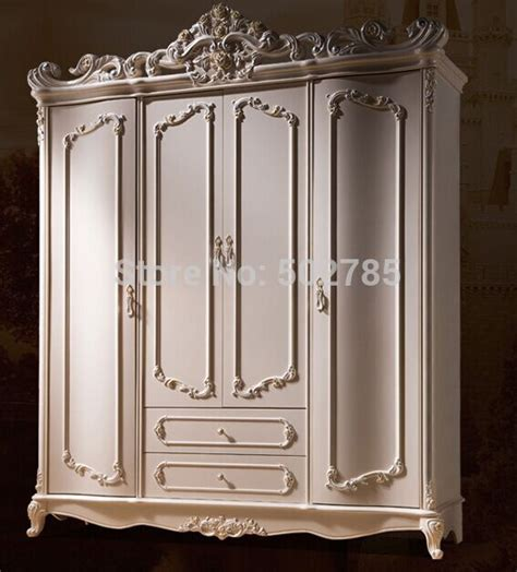 4 Door Wardrobe Closet European Rural Solid Wood Four Door Wardrobe White