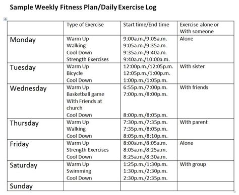 wellness chart and five day log image gallery log fitness activity