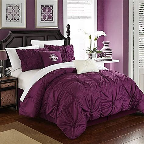 buy chic home hilton 6 piece queen comforter set in purple