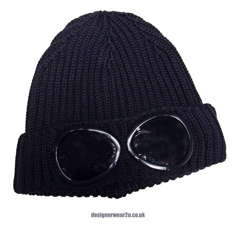 cp hat cp company navy wool beanie hat with goggles hats from