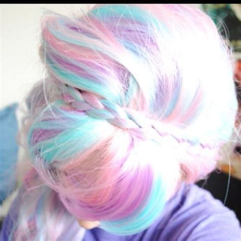 pastel rainbow hair pastel rainbow hair pink peach blue and braids