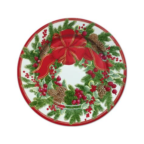 evergreen wreath christmas dessert plates paperstyle