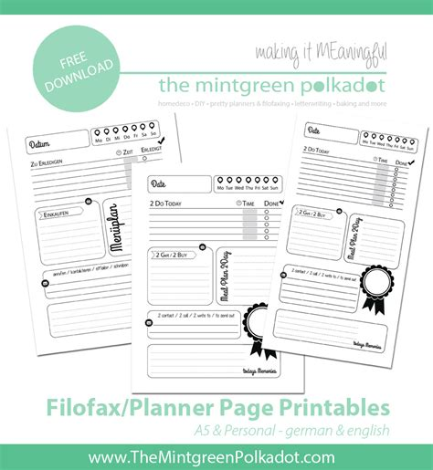 free printable planner 2016 personal size download printable filofax pages 1 day on 1 page for