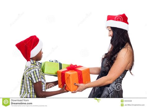 christmas family giving presents stock photo image 33343428