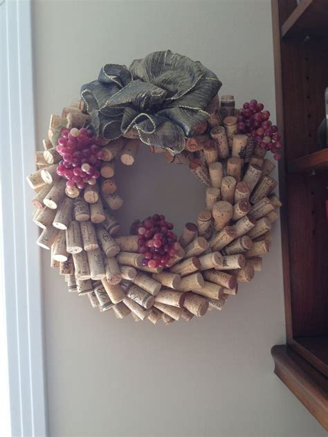 wine cork wreath just use toothpicks to attach to straw wreath cork crafts