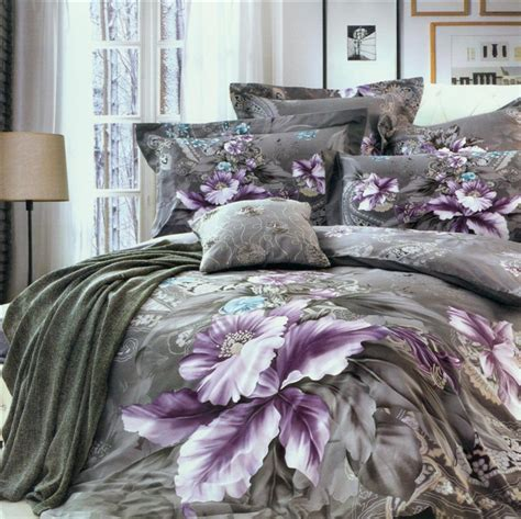 purple and gray bedding 2013 new beautiful 100 cotton 4pc doona duvet quilt cover