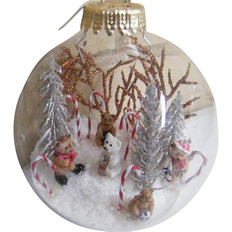 signed folk art clear glass christmas ornament ball
